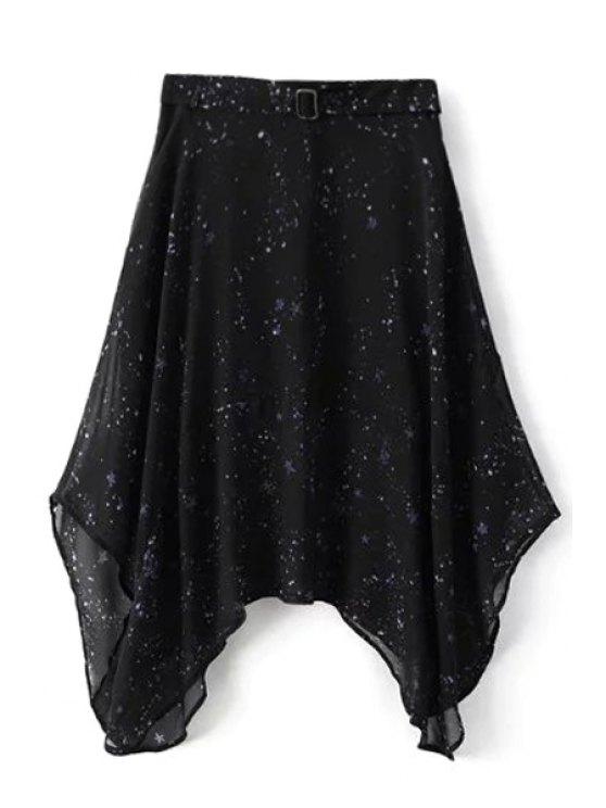 Noche estrellada irregular de la falda - Negro S