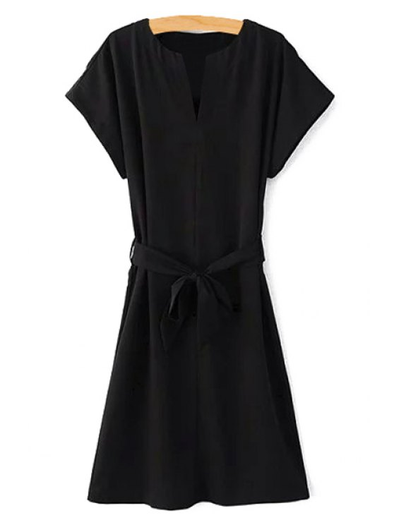 Short Sleeve Belted Solid Color Dress - BLACK S Mobile