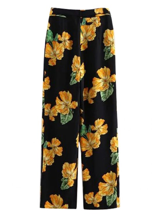 Printed Wide Leg Palazzo Pants - BLACK M Mobile