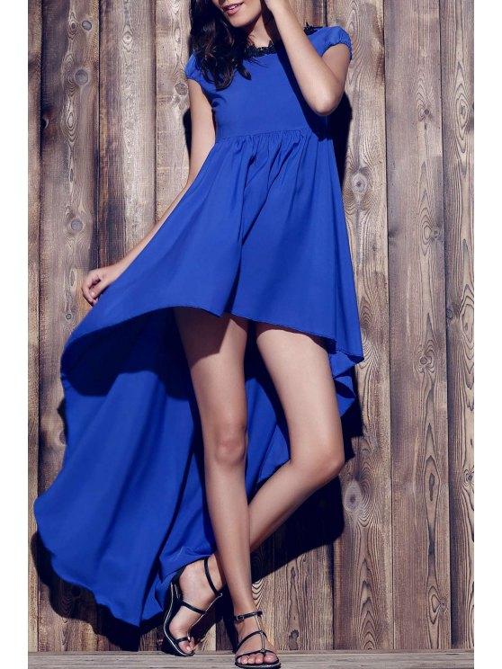 Encolure bateau Hem Accidenté robe en mousseline de soie - Bleu Violet S