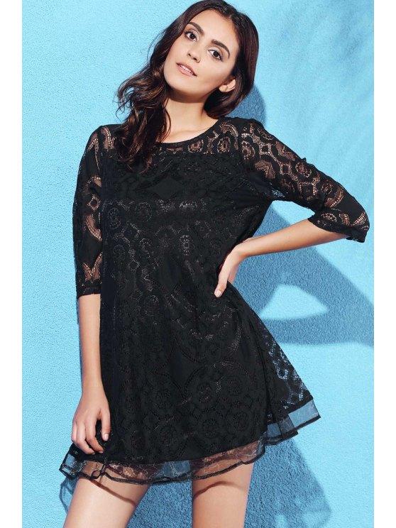 A-Line Guipure Lace Swing Dress - BLACK 3XL Mobile
