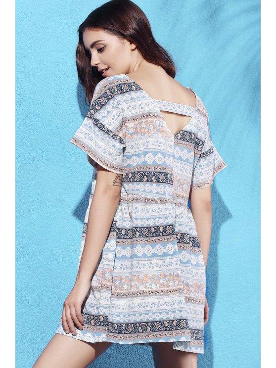 Printed V-Neck Short Sleeve Dress - COLORMIX S Mobile