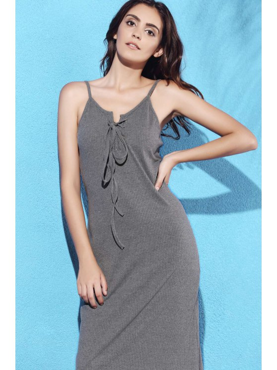 Lace Up Spaghetti Straps Solid Color Dress - GRAY M Mobile