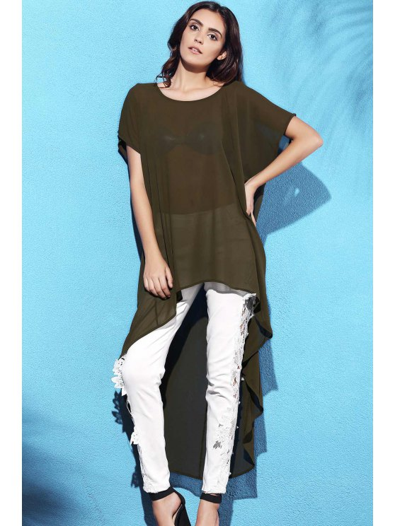 High Low Short Sleeve Dress - ARMY GREEN L Mobile