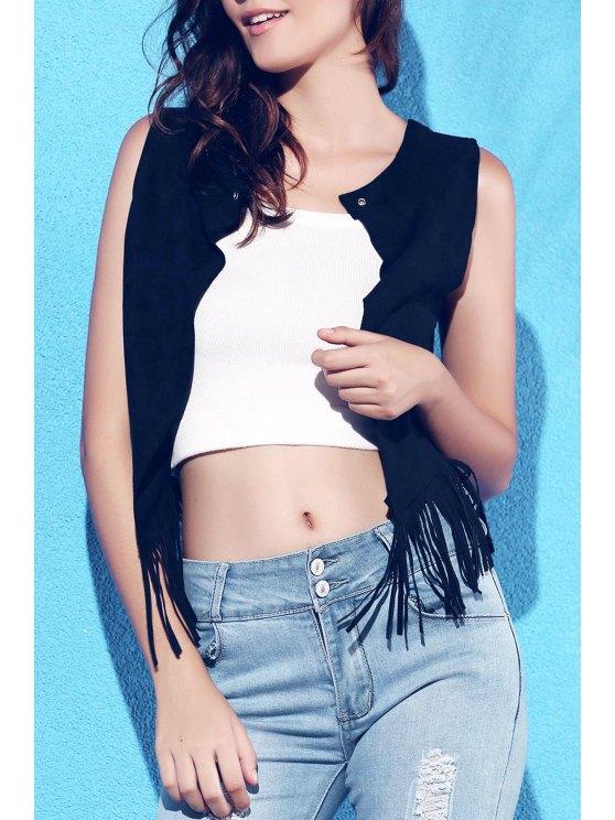 fashion Suede Round Collar Tassels Spliced Tank Top - BLACK L