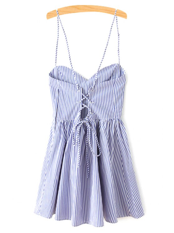fancy Fitting Striped Spaghetti Straps Sleeveless Dress - BLUE S