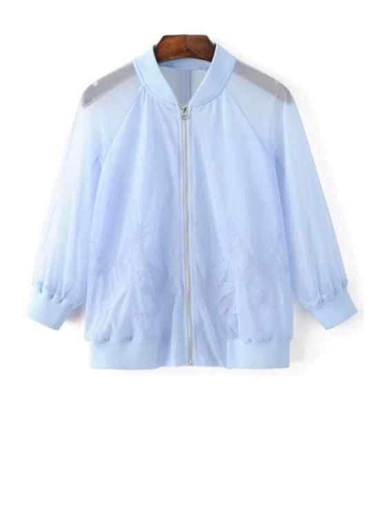 Oiseau brodé Sunscreen Jacket - Bleu clair L