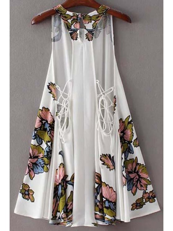 Floral Swing Lace Up Dress - WHITE M Mobile