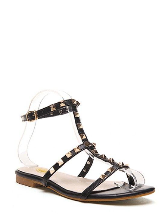 chic Rivet T-Strap Flat Heel Sandals - BLACK 39