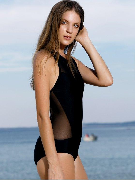 High-Neck See-Through One-Piece Swimwear - BLACK M Mobile