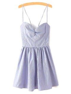 Fitting Lace-Up Spaghetti Straps Sleeveless Dress - Blue S