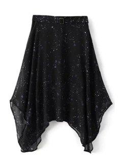 Starry Night Irregular Skirt - Black Xl