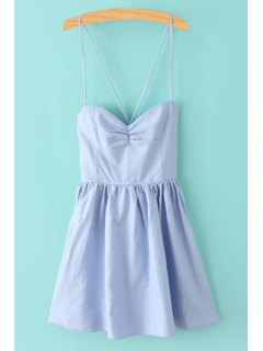 Solid Color Lace-Up Spaghetti Straps Sleeveless Dress - Light Blue L