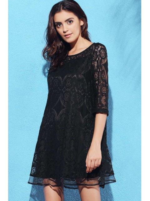 trendy A-Line Guipure Lace Swing Dress - BLACK XL Mobile
