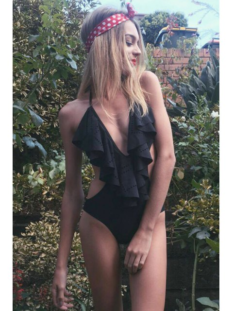 affordable Plunging Neck One-Piece Flouncing Swimwear - BLACK S Mobile