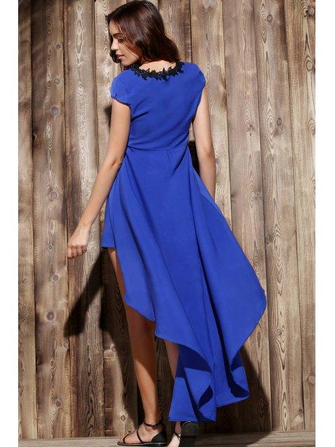 ladies Boat Neck Uneven Hem Chiffon Dress - PURPLISH BLUE L Mobile