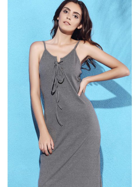 online Lace Up Spaghetti Straps Solid Color Dress - GRAY M Mobile