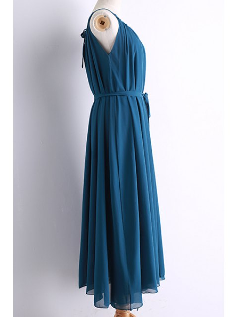 shops Belted Maxi Chiffon Dress - BLUE M Mobile