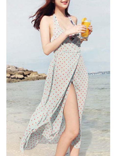 online Backless Plunging Neck High Slit Polka Dot Cover Up - LIGHT BLUE ONE SIZE(FIT SIZE XS TO M) Mobile