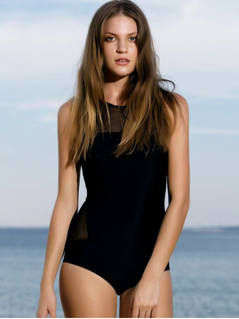 unique High-Neck See-Through One-Piece Swimwear - BLACK S Mobile