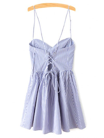 Fitting Striped Spaghetti Straps Sleeveless Dress - BLUE M Mobile