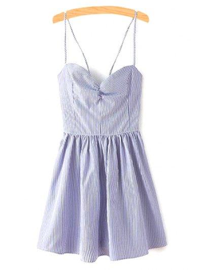 Fitting Lace-Up Spaghetti Straps Sleeveless Dress - Blue