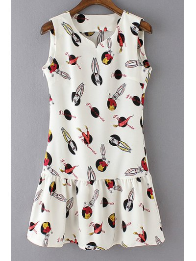 Round Neck Sleeveless Cartton Print Ruffle Hem Tank Dress