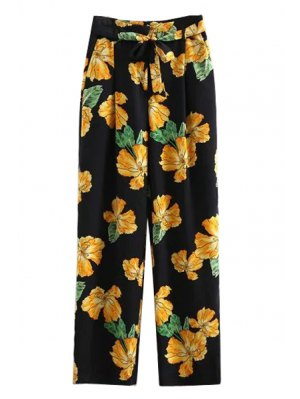 Printed Wide Leg Palazzo Pants - Black