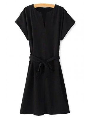 Short Sleeve Belted Solid Color Dress - Black