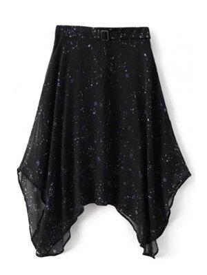 Starry Night Irregular Skirt - Black