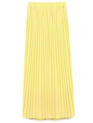 Color Sólido De Alta Cintura Una Línea De Falda De Gasa - Amarillo