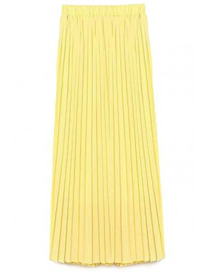 Solid Color High Waist A-Line Chiffon Skirt - Yellow