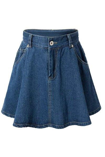 High-Waisted A-Line Denim Skirt