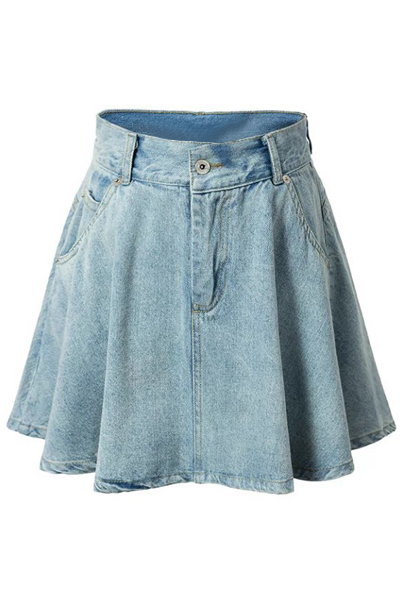High-Waisted A-Line Denim Skirt