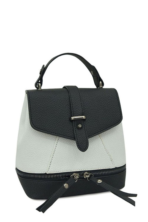 Zips Color Block PU Leather SatchelAccessories<br><br><br>Color: WHITE AND BLACK