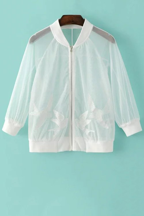 See-Through Bird Embroidered Sunscreen Jacket
