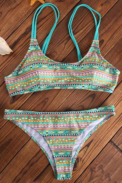 Geometric Print Spaghetti Strap Bikini Set