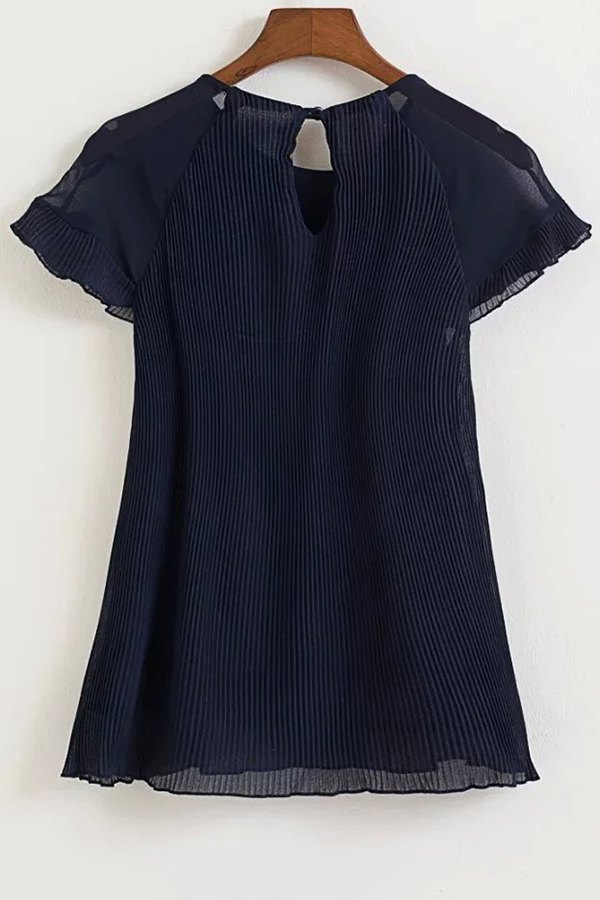 Round Neck Short Sleeve Pleated Chiffon Blouse