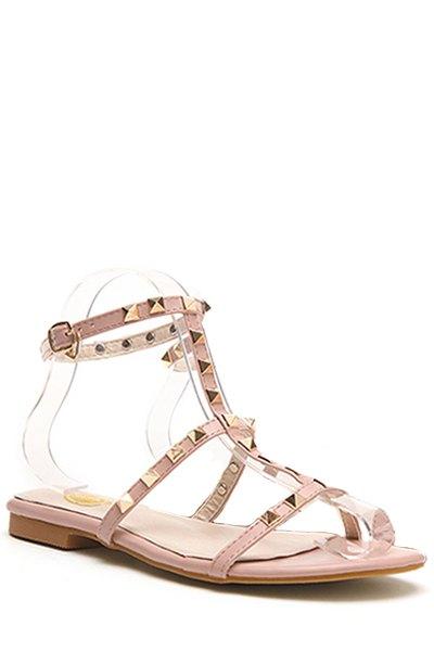 Buy Rivet T-Strap Flat Heel Sandals PINK 39