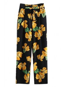 Printed Wide Leg Palazzo Pants - Black L