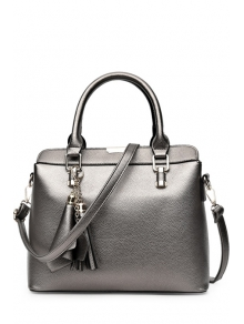 Buy Pendant Solid Color PU Leather Tote Bag SILVER