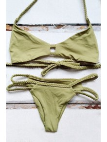 Halter Green Braid String Bikini Set