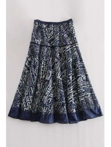 High Waisted Printed A Line Midi Skirt