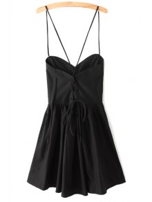 Solid Color Lace-Up Spaghetti Straps Sleeveless Dress - Black Xs