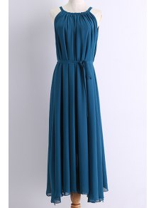 Belted Maxi Chiffon Dress