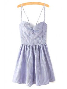 Fitting Lace-Up Spaghetti Straps Sleeveless Dress - Blue