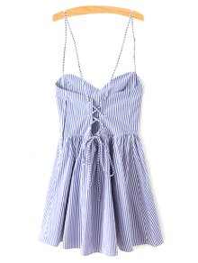 Fitting Striped Spaghetti Straps Sleeveless Dress - Blue M