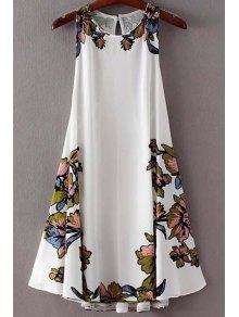 فستان طباعة الأزهار سوينغ رباط - أبيض M