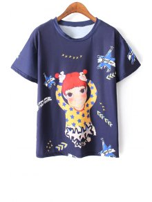 Cartoon Print Blue T-Shirt