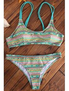 Elastic Spaghetti Strap Geometric Print Bikini Set - Light Green L